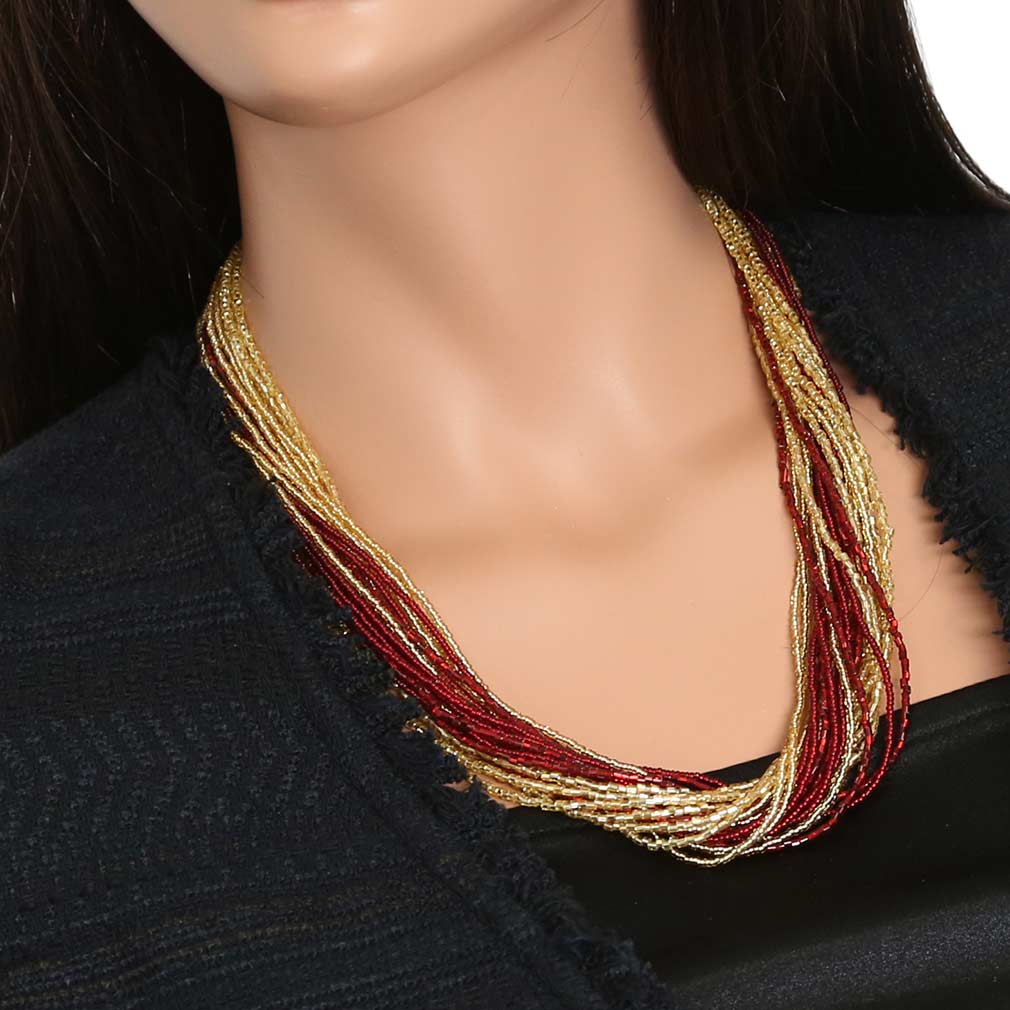 Gloriosa 24 Strand Seed Bead Murano Necklace - Red and Gold