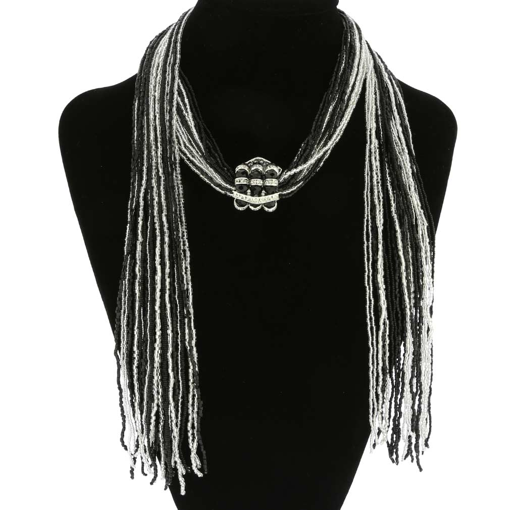Unica Murano Glass Scarf Wrap Necklace - Silver Black