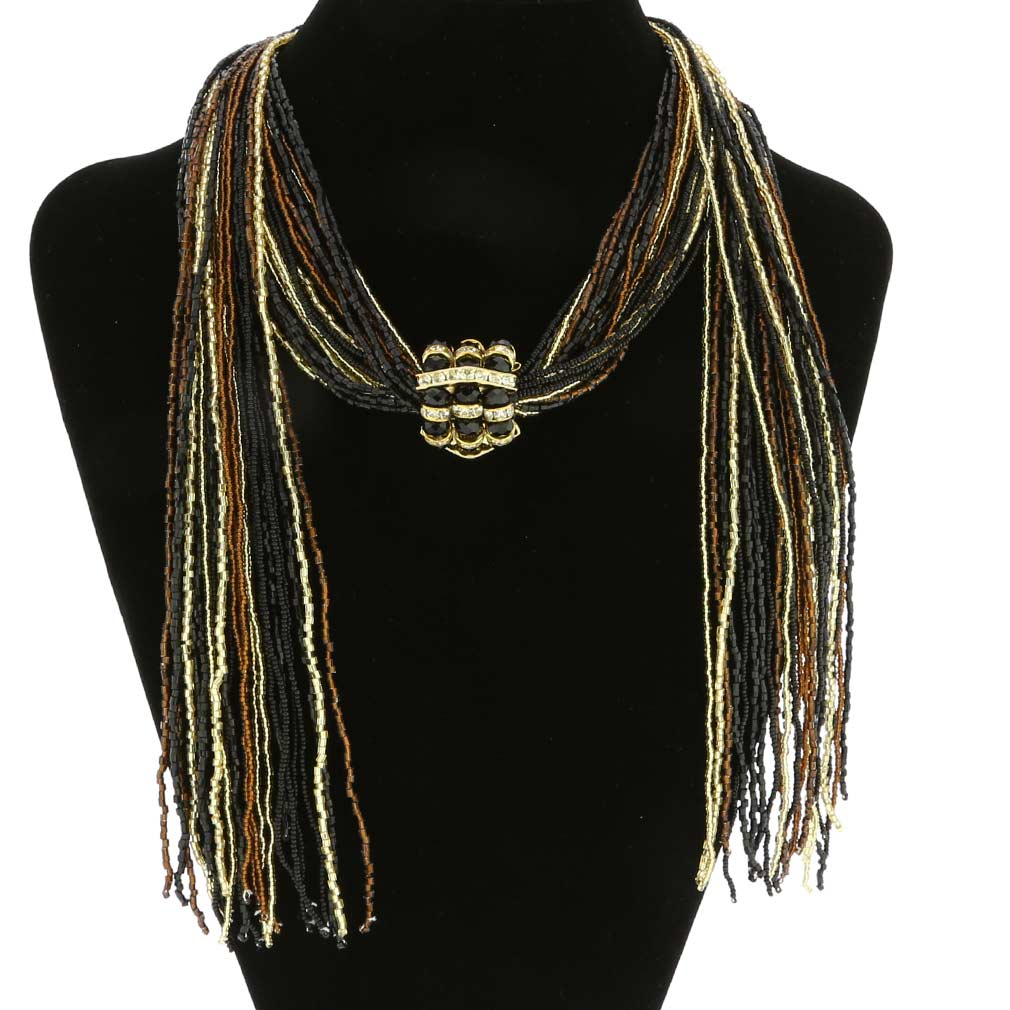 Unica Murano Glass Scarf Wrap Necklace - Topaz and Gold