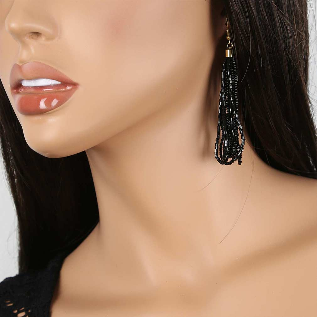 Gloriosa Seed Bead Murano Earrings - Black