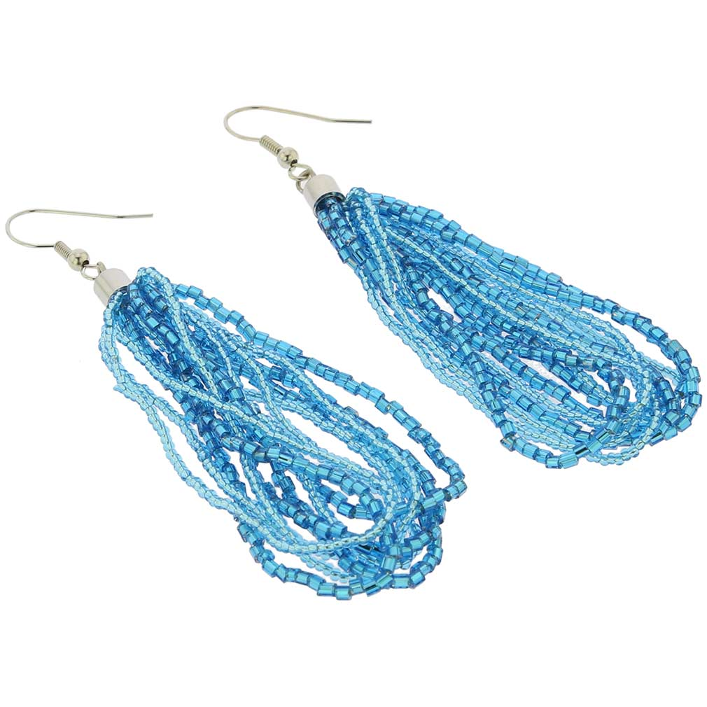 Gloriosa Seed Bead Murano Earrings - Aqua Blue