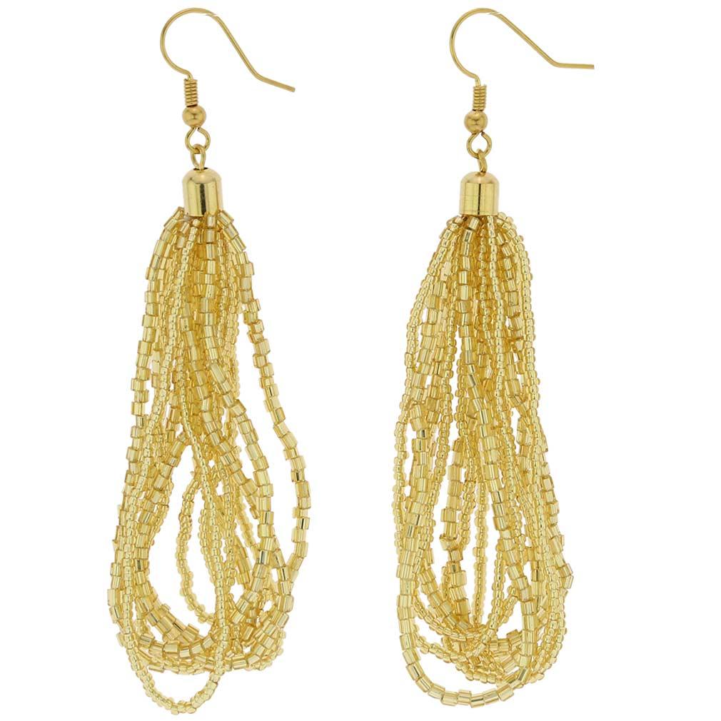 Gloriosa Seed Bead Murano Earrings - Gold