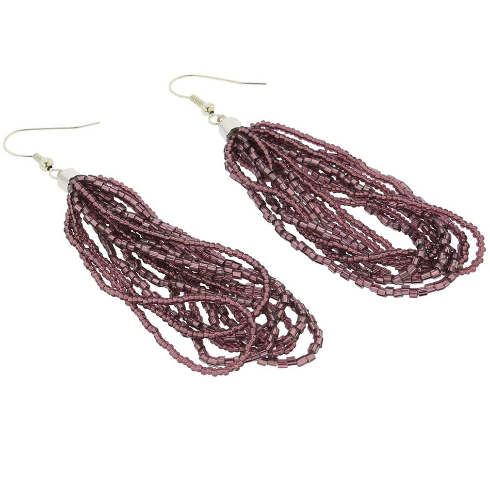 Gloriosa Seed Bead Murano Earrings - Purple