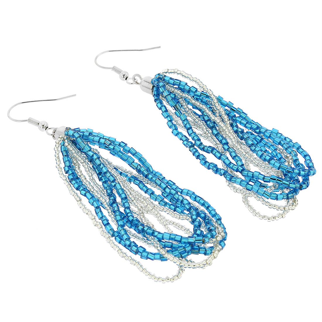 Gloriosa Seed Bead Murano Earrings - Silver Aqua