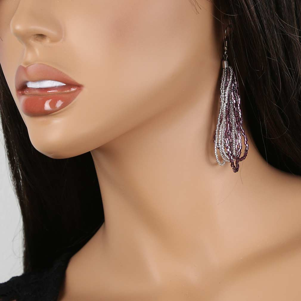 Gloriosa Seed Bead Murano Earrings - Silver Purple