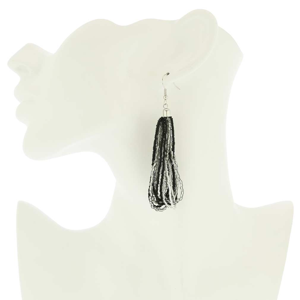 Gloriosa Seed Bead Murano Earrings - Silver Grey and Black