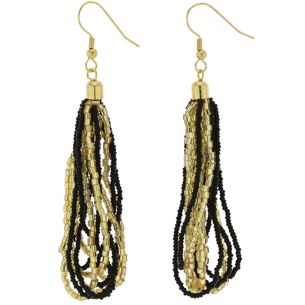 Gloriosa Seed Bead Murano Earrings - Black and Gold