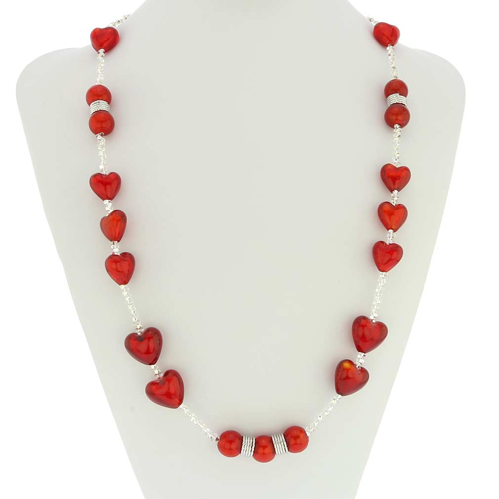 Passione Silver Red Hearts Murano Glass Necklace