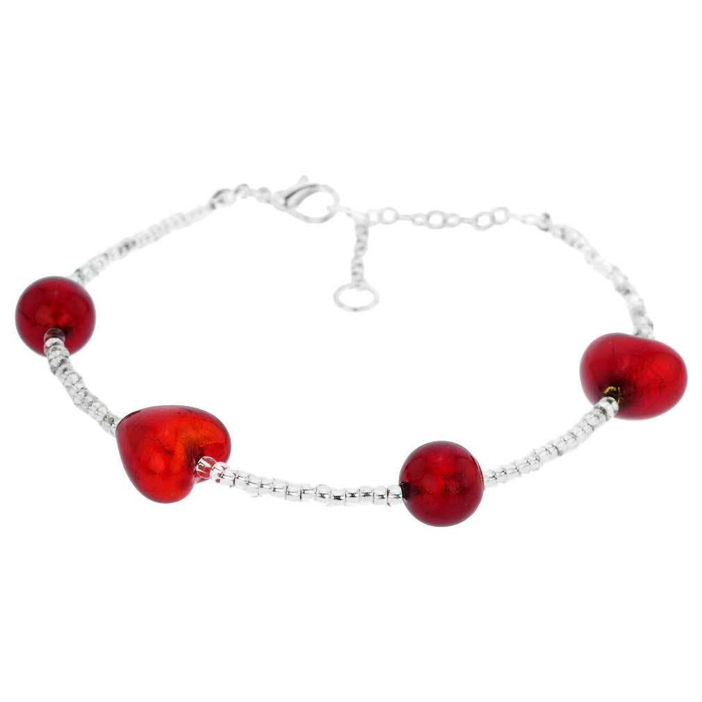 Passione Silver Red Hearts Murano Glass Bracelet