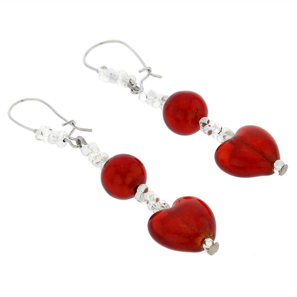 Passione Silver Red Hearts Murano Glass Earrings