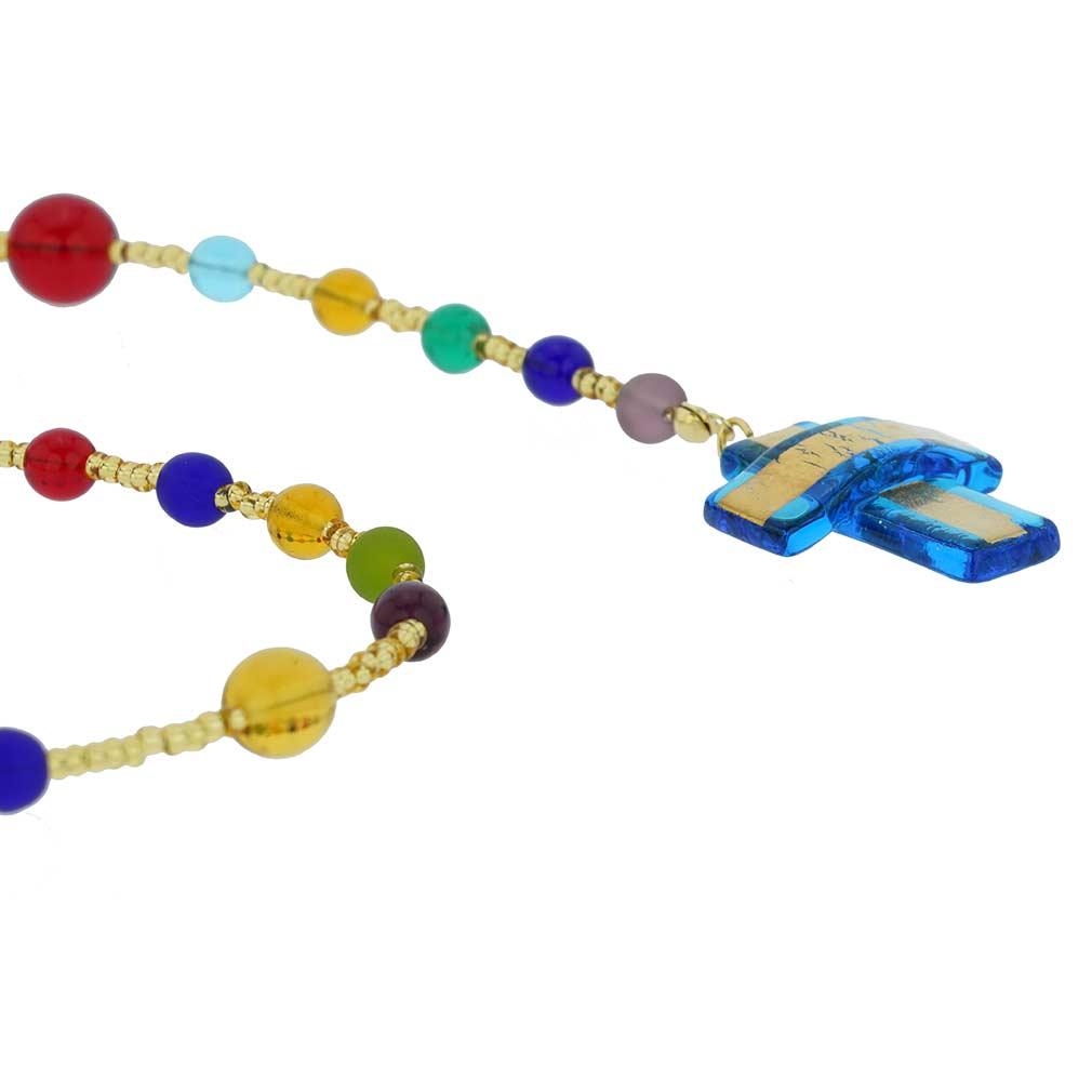 Murano Glass Italian Rosary - Aqua Blue