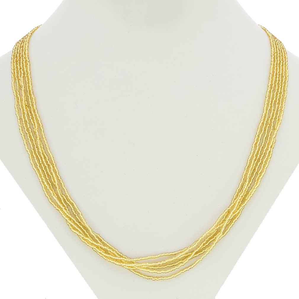 Gloriosa 6 Strand Seed Bead Murano Necklace - Gold