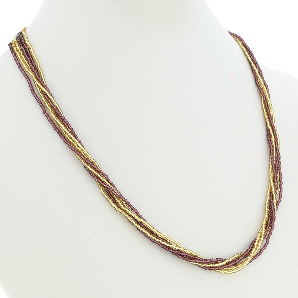 Gloriosa 6 Strand Seed Bead Murano Necklace - Purple and Gold