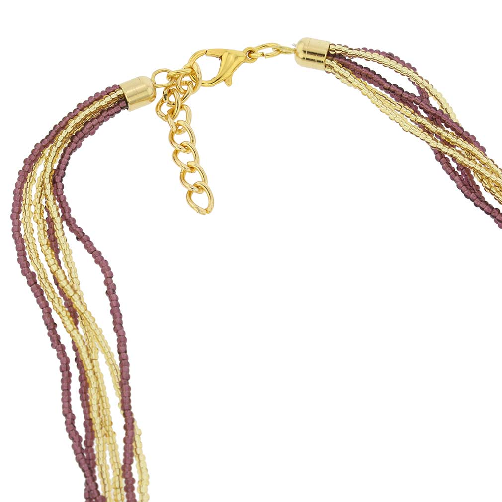 Gloriosa 6 Strand Seed Bead Murano Necklace - Amethyst and Gold