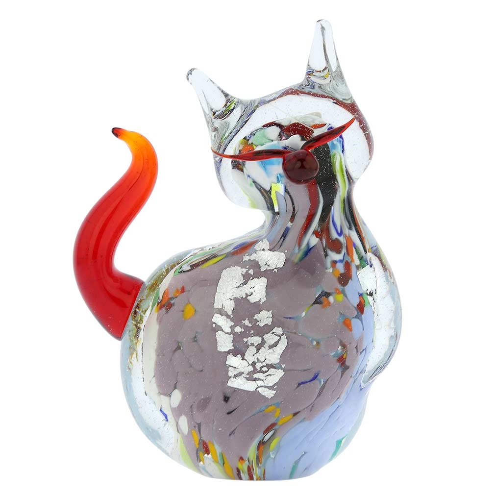 Murano Glass Plump Cat - Multicolor