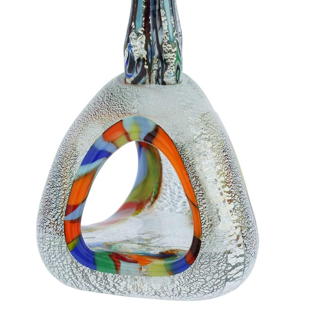 Murano Glass Silver Multicolor Millefiori Lovers On A Base