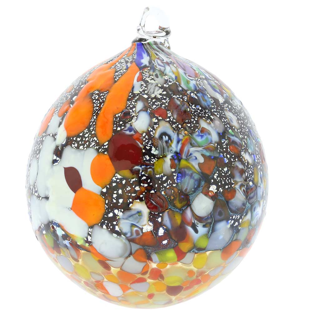 Millefiori Silver Foil Murano Glass Christmas Ornament