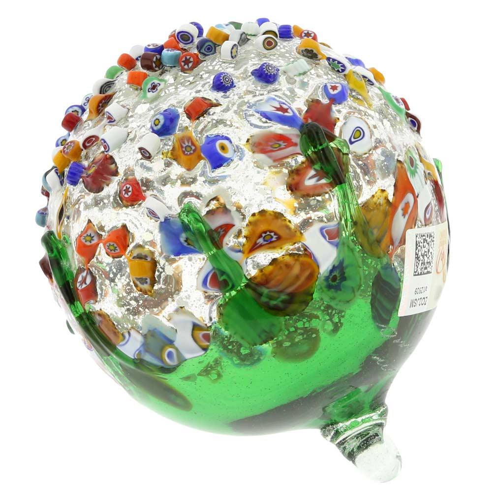 Venetian Mosaic Murano Glass Christmas Ornament - Green