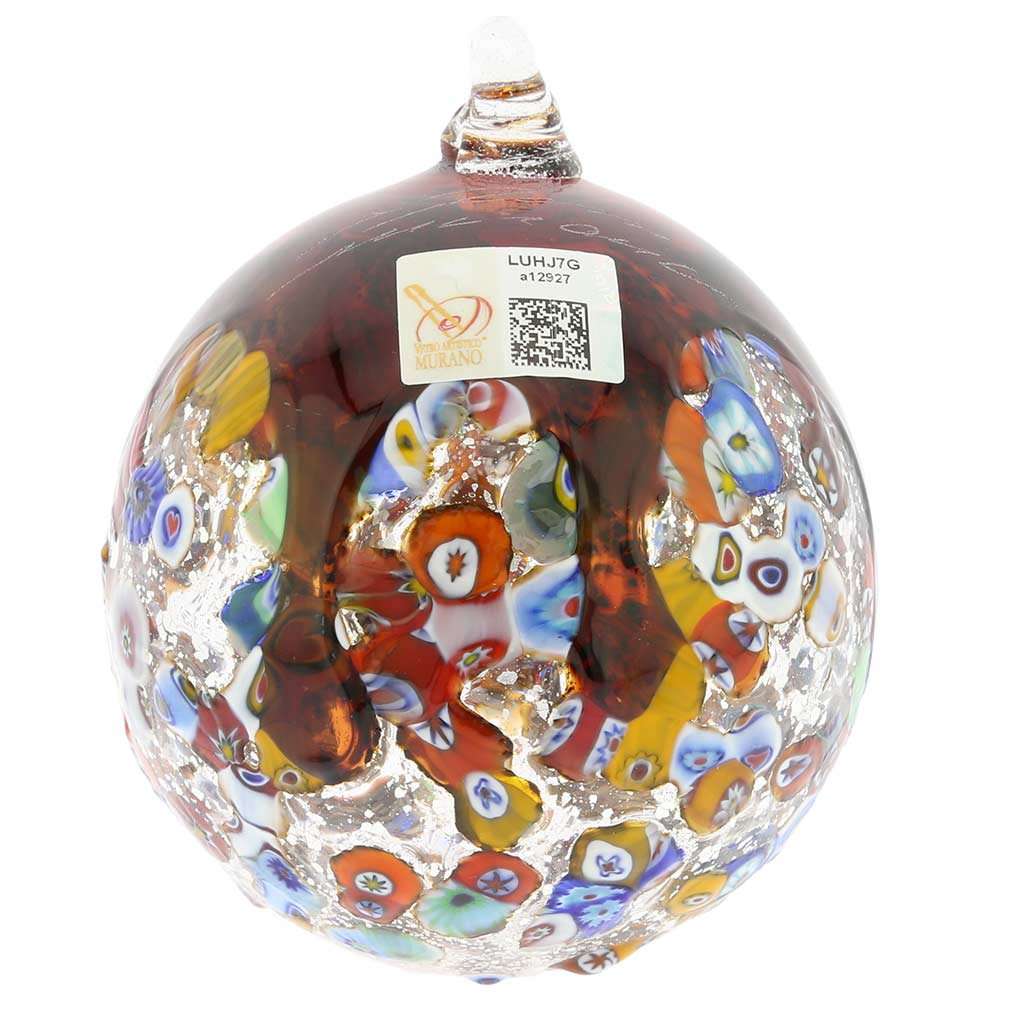 Venetian Mosaic Murano Glass Christmas Ornament - Red