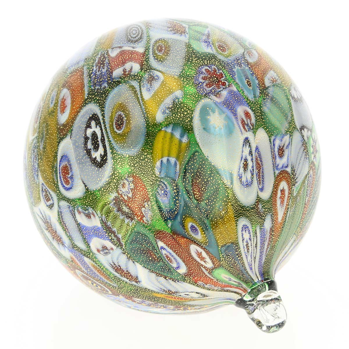 Murano Glass Christmas Ornament - Green and Gold Millefiori