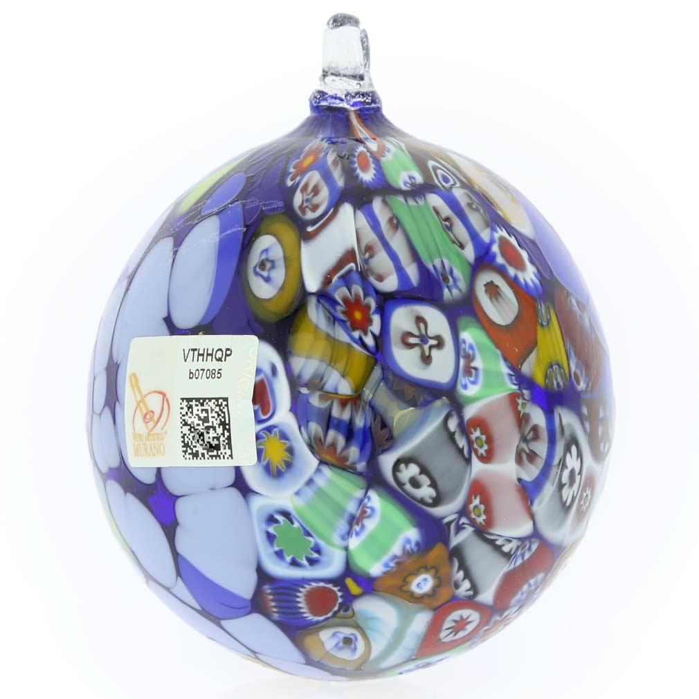 Primavera Millefiori Murano Glass Christmas Ornament - Blue