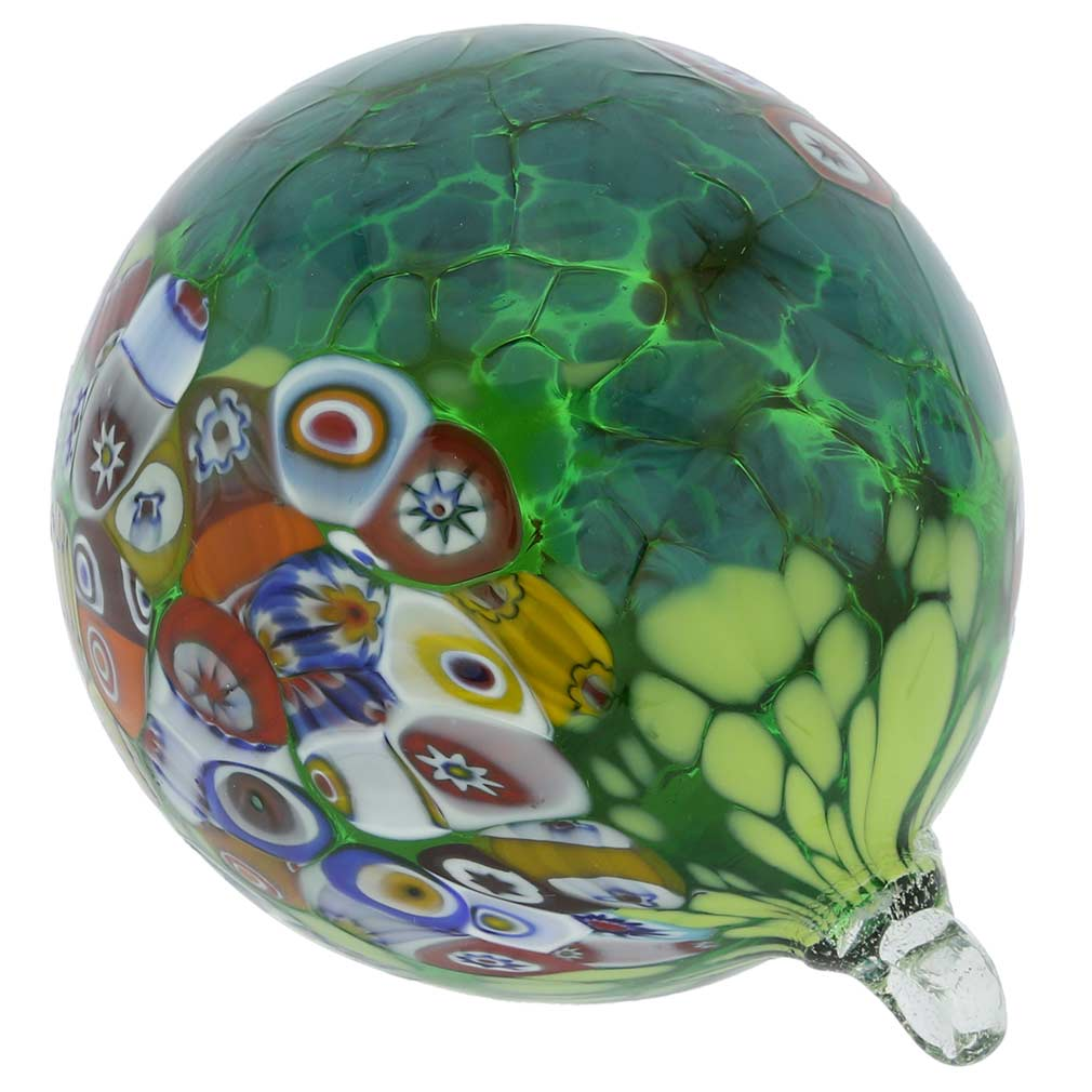 Primavera Millefiori Murano Glass Christmas Ornament - Green