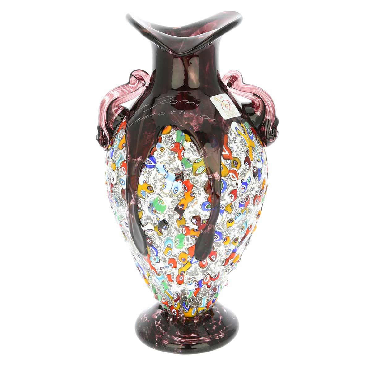 Murano Glass Millefiori Amphora Vase - Silver Purple