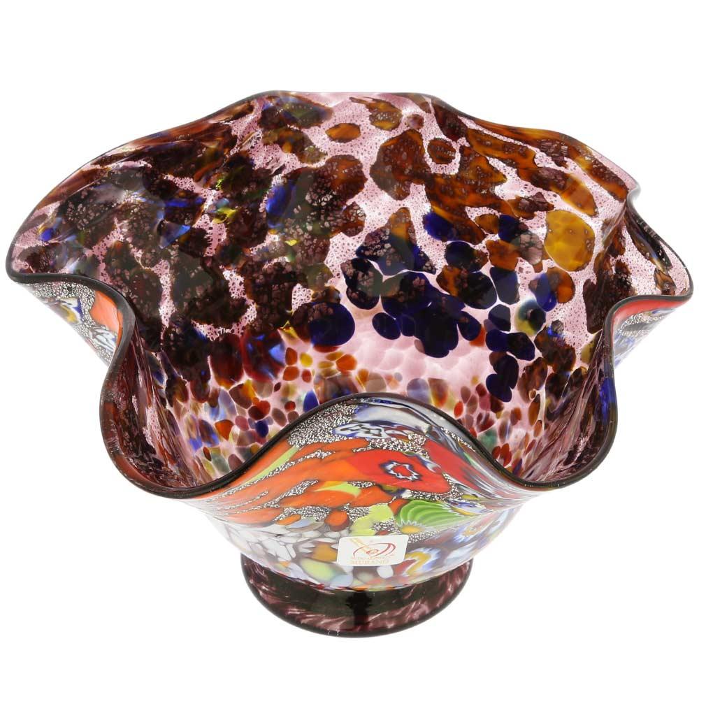 Murano Millefiori Fazzoletto Bowl - Silver Purple