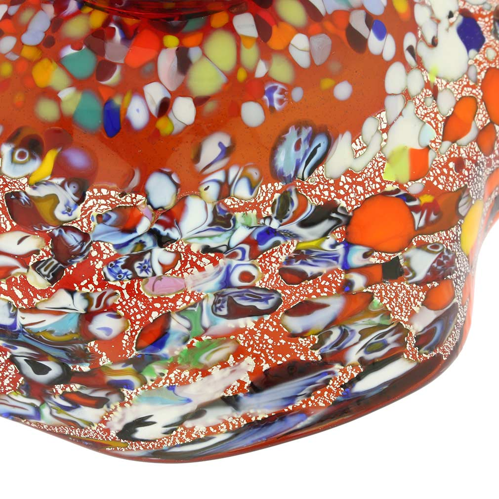 Murano Millefiori Fazzoletto Bowl - Silver Red