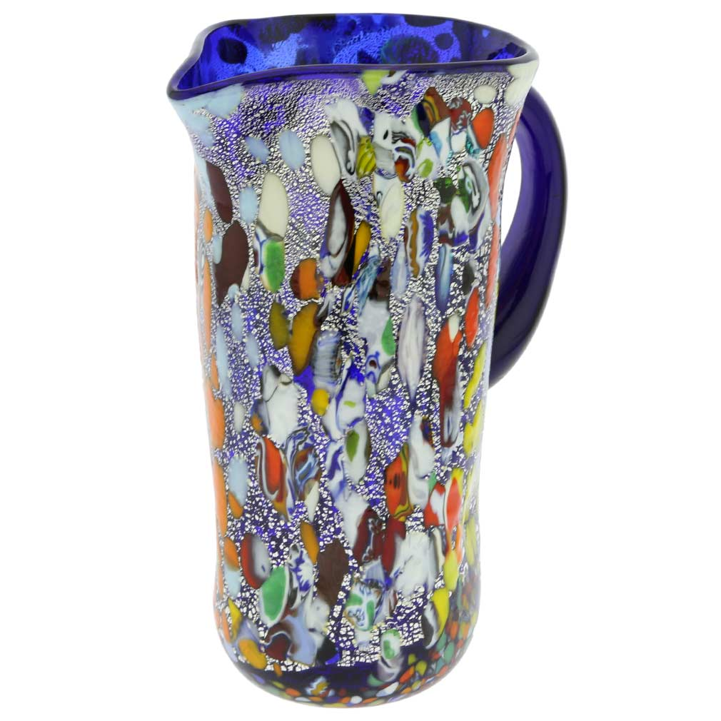 Murano Millefiori Art Glass Pitcher / Carafe - Silver Blue