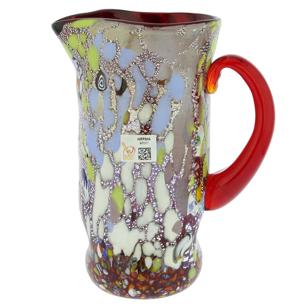 Murano Millefiori Art Glass Pitcher / Carafe - Silver Red