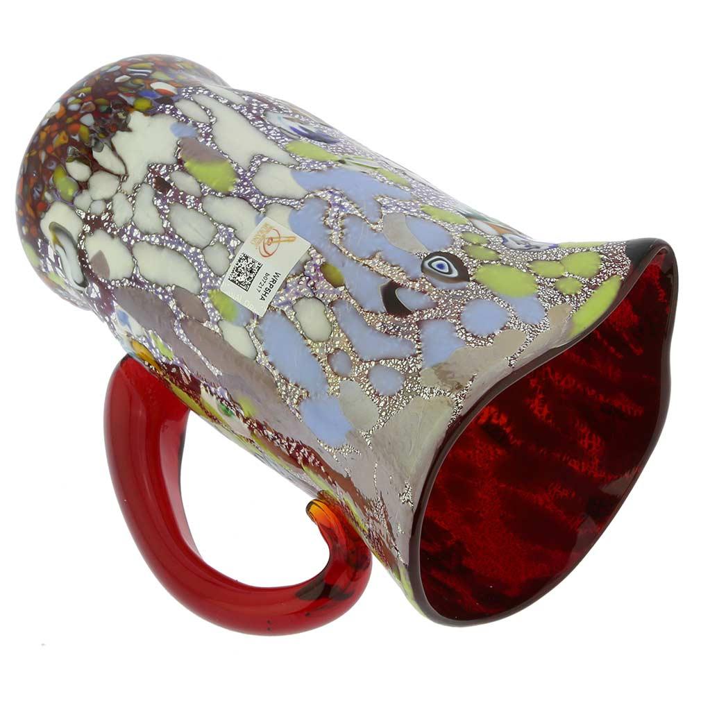 Murano Millefiori Art Glass Pitcher / Carafe - Silver Red