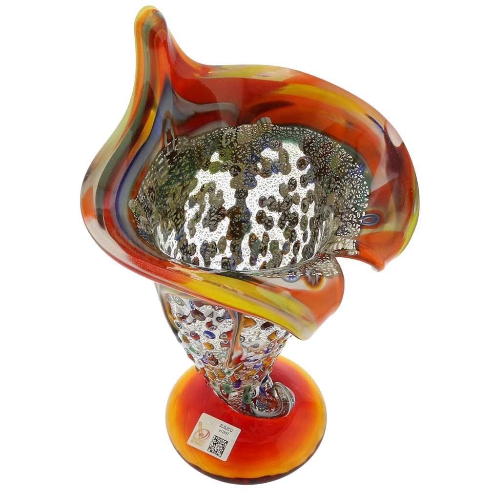 Murano Millefiori Horn Of Plenty Vase - Multicolor