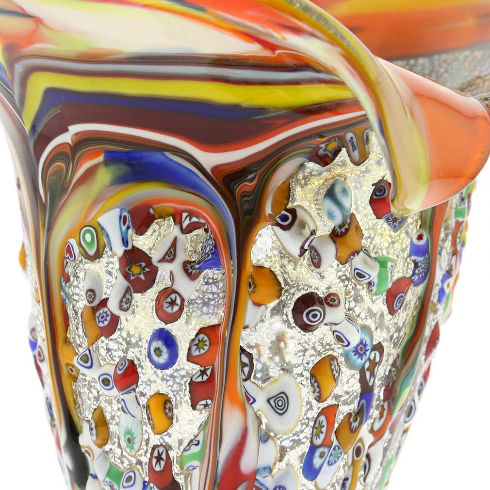 Murano Millefiori Horn Of Plenty Vase - Multicolor