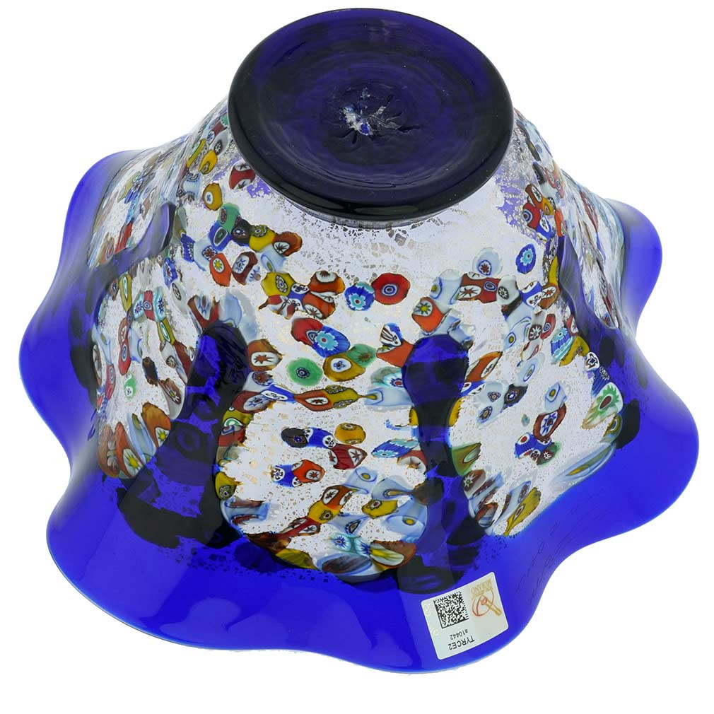 Murano Millefiori Art Glass Round Wavy Bowl - Blue