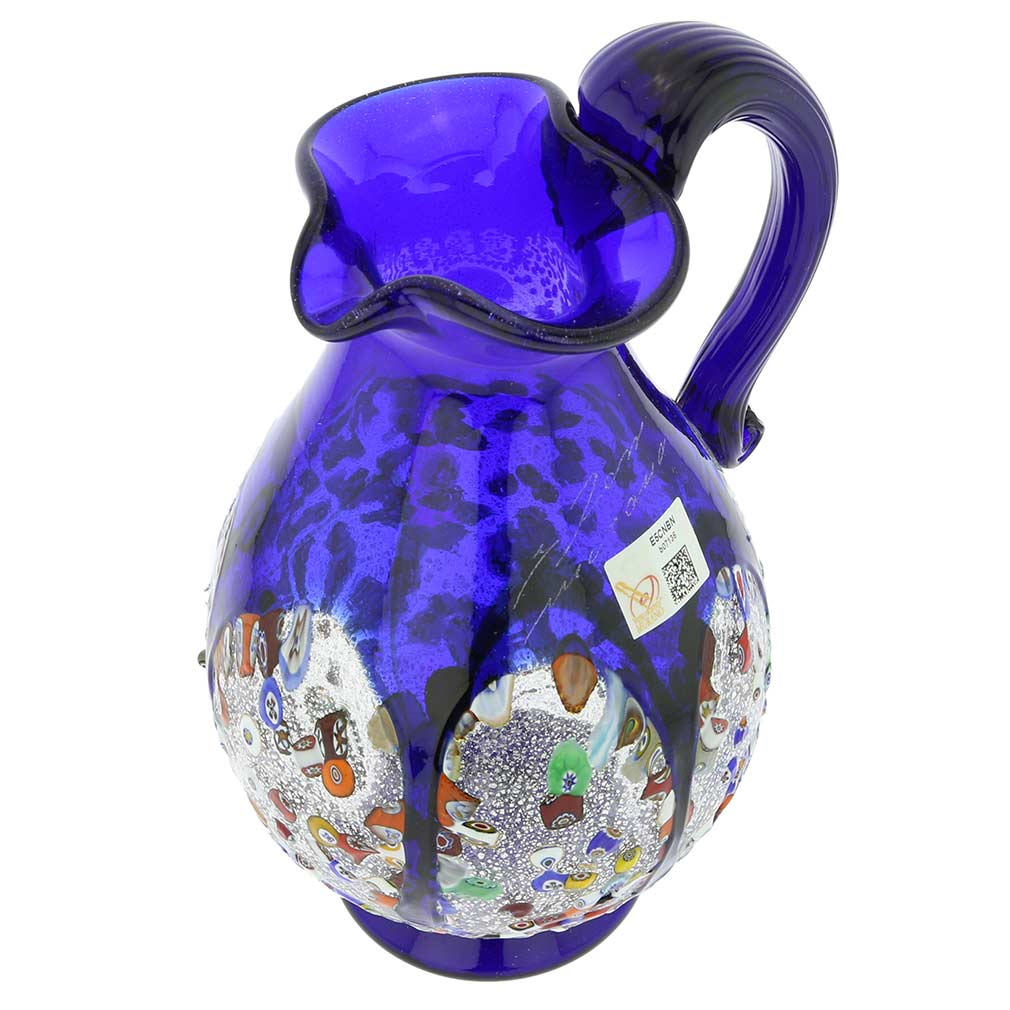 Murano Millefiori Art Glass Pitcher / Carafe - Blue