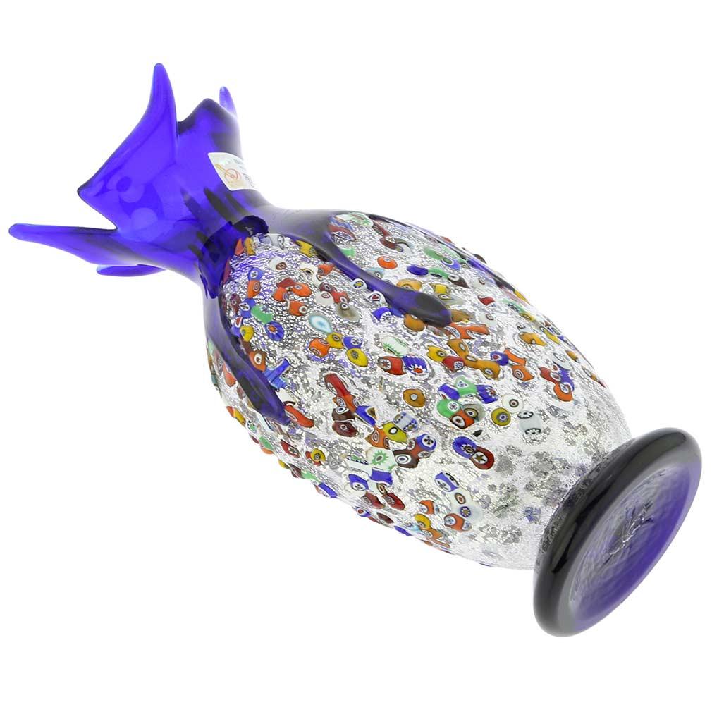 Murano Millefiori Art Glass Spiky Amphora Vase - Blue