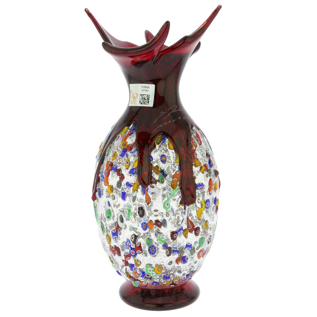 Murano Millefiori Art Glass Spiky Amphora Vase - Red