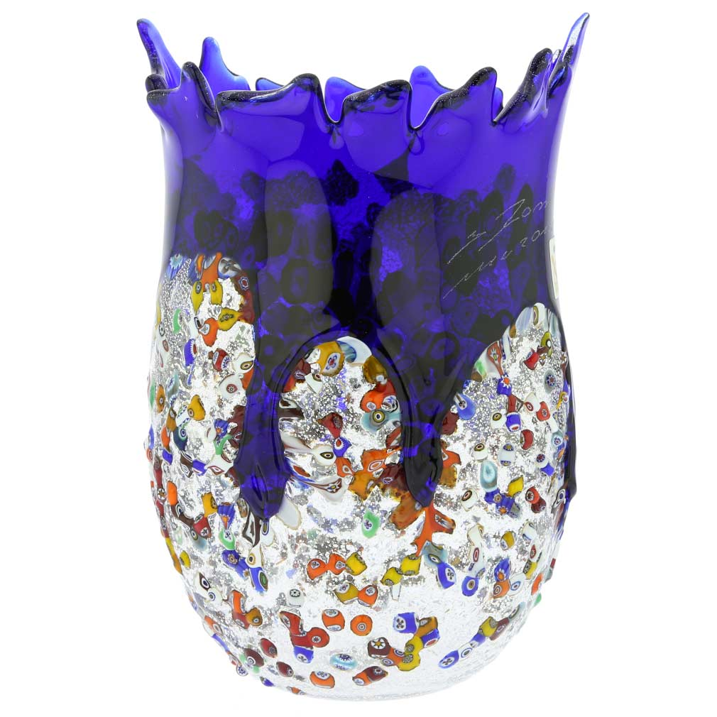 Murano Millefiori Art Glass Spiky Vase - Blue