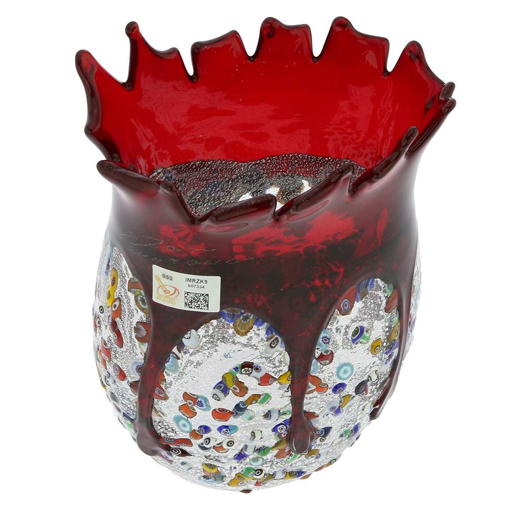 Murano Millefiori Art Glass Spiky Vase - Red