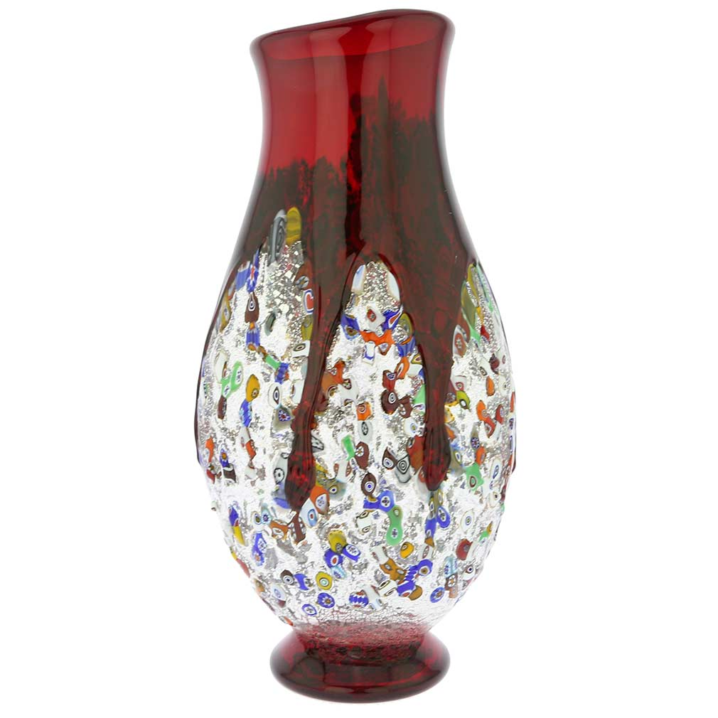 Murano Millefiori Art Glass Bottle Vase - Red