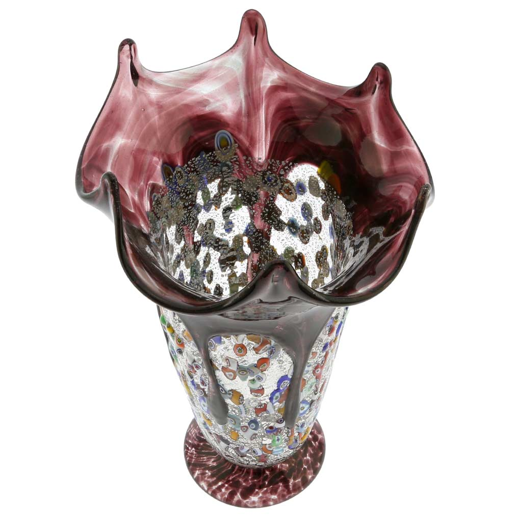 Murano Millefiori Art Glass Fazzoletto Vase - Silver Purple