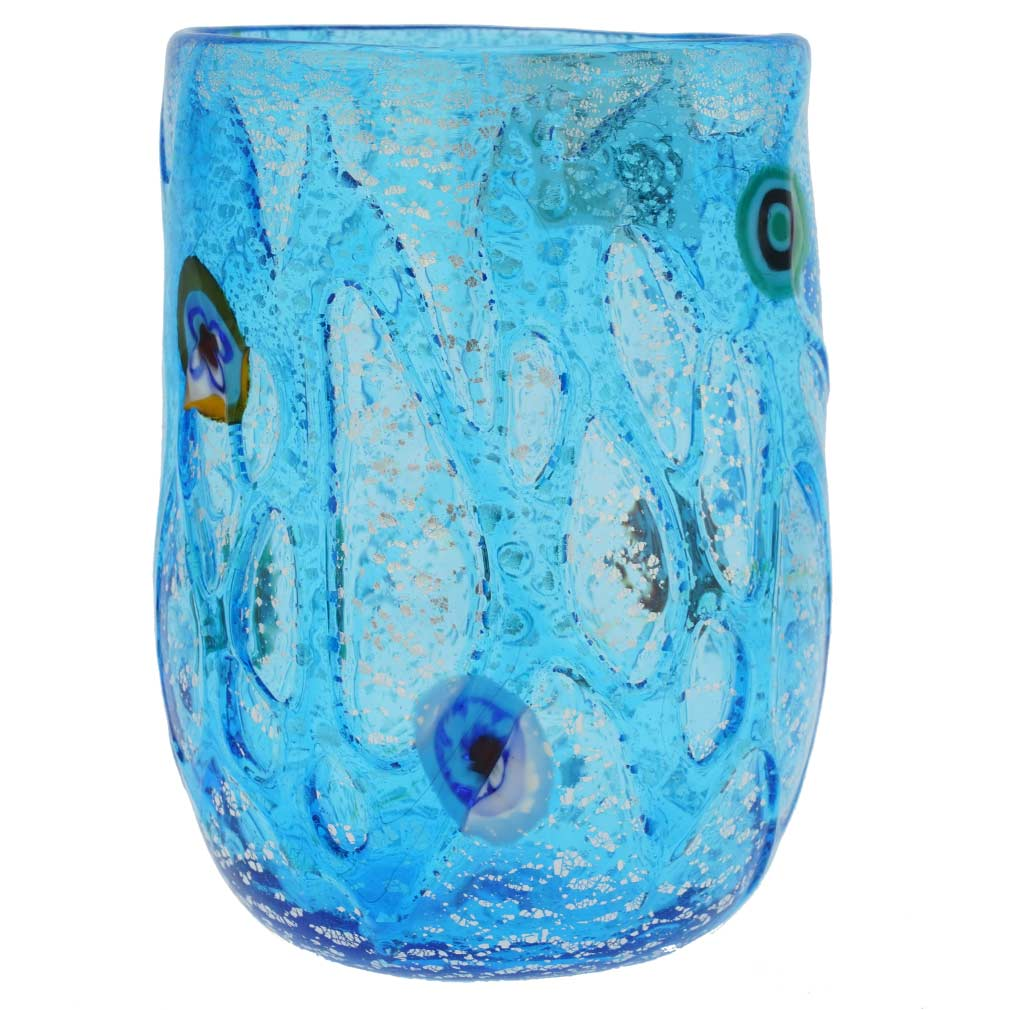 Aqua Swirls Murano Glass Tumbler