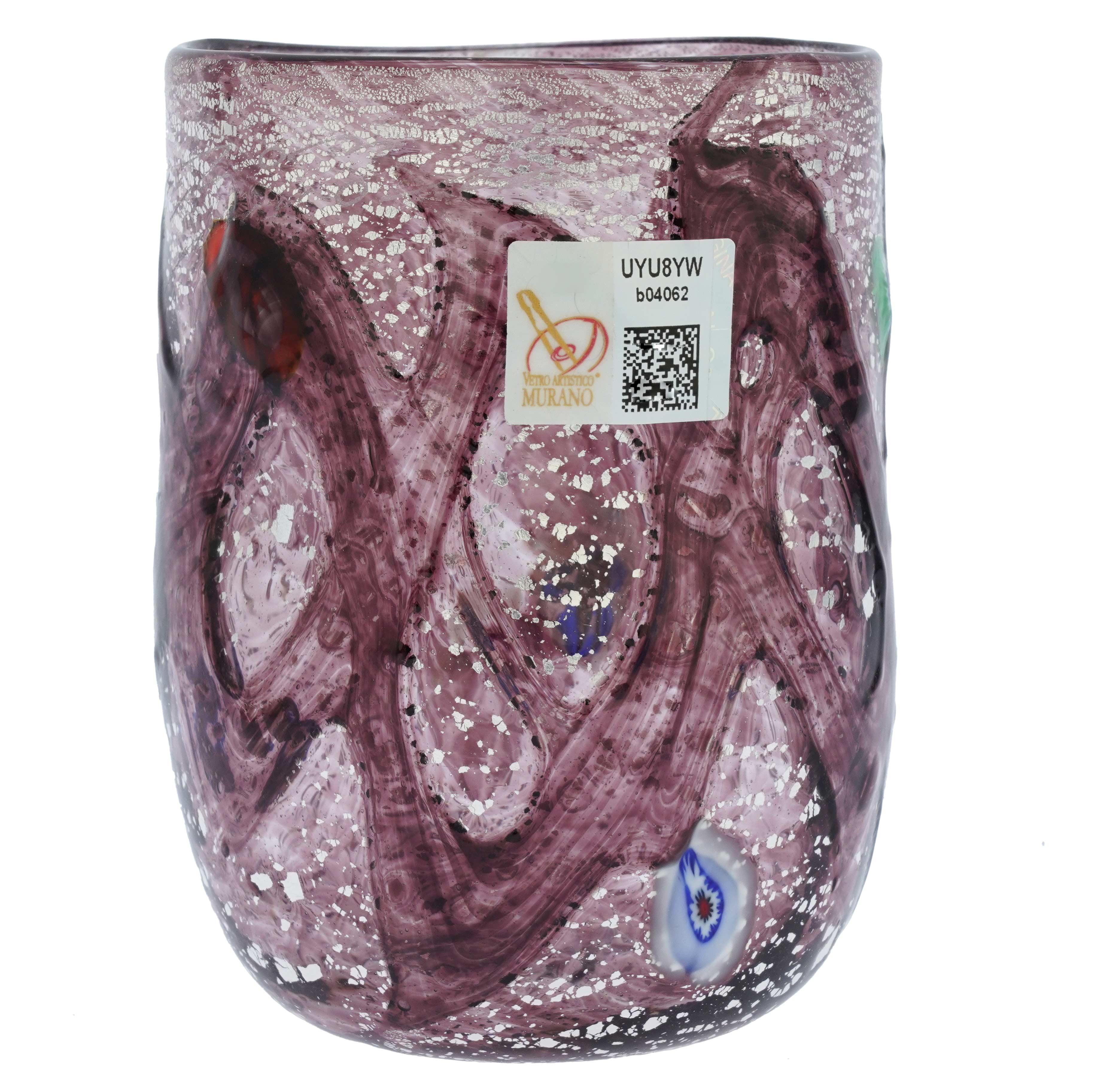 Purple Swirls Murano Glass Tumbler