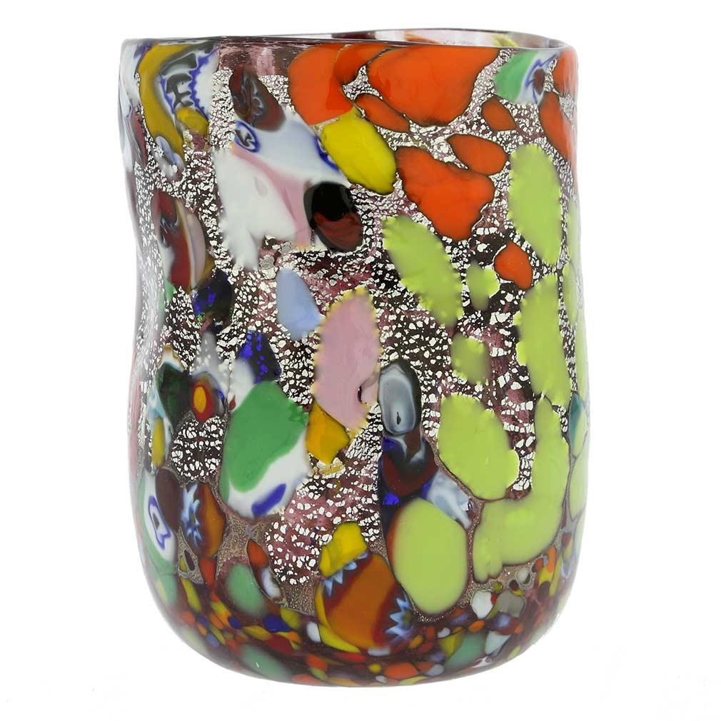Murano Drinking Glass - Millefiori Silver Purple