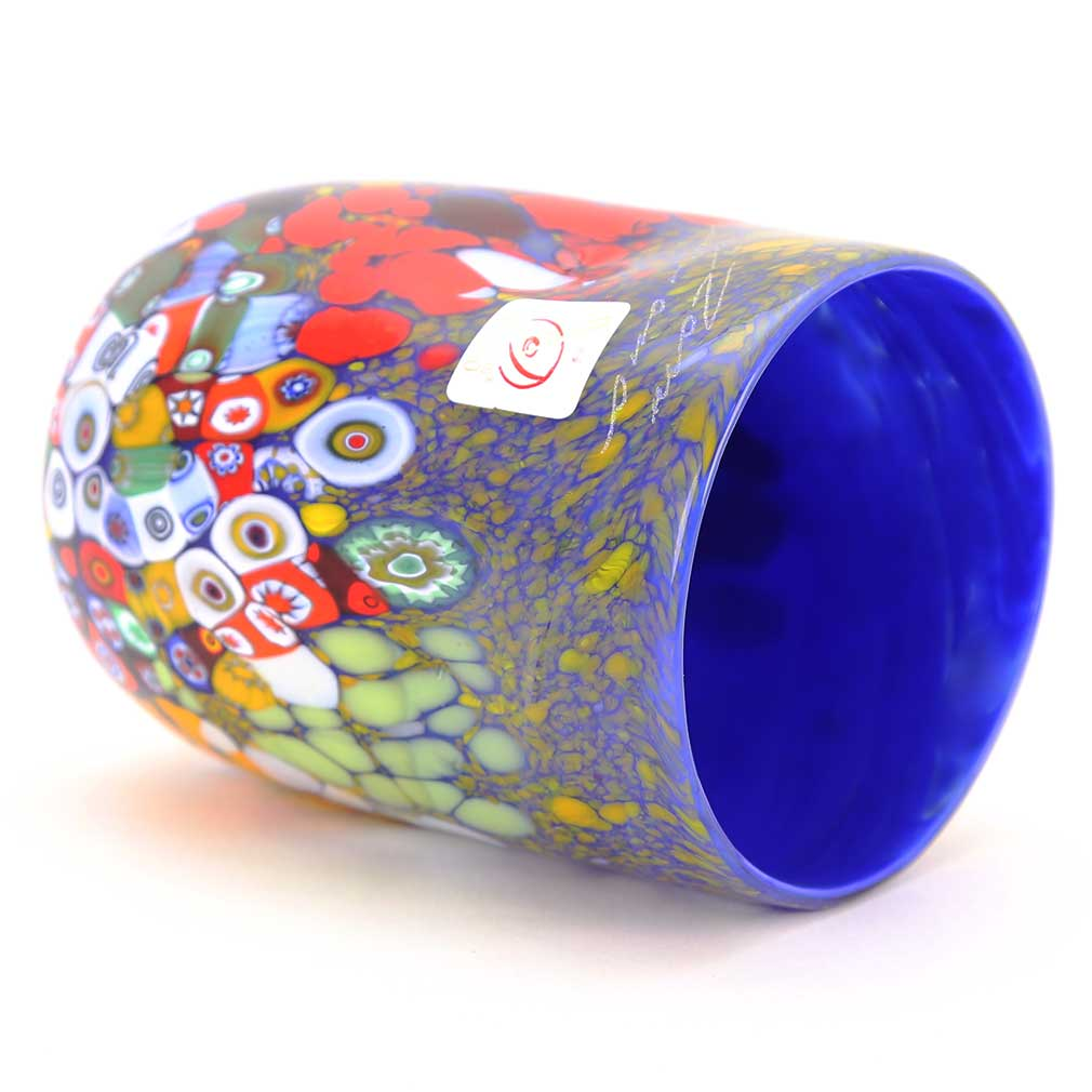 Murano Drinking Glass - Blue Millefiori