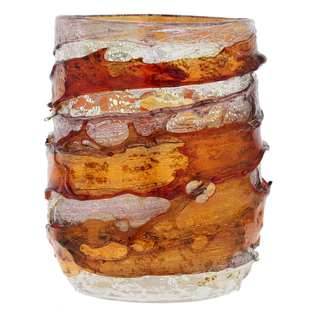 Murano Sbruffo Drinking Glass - Golden Brown Purple