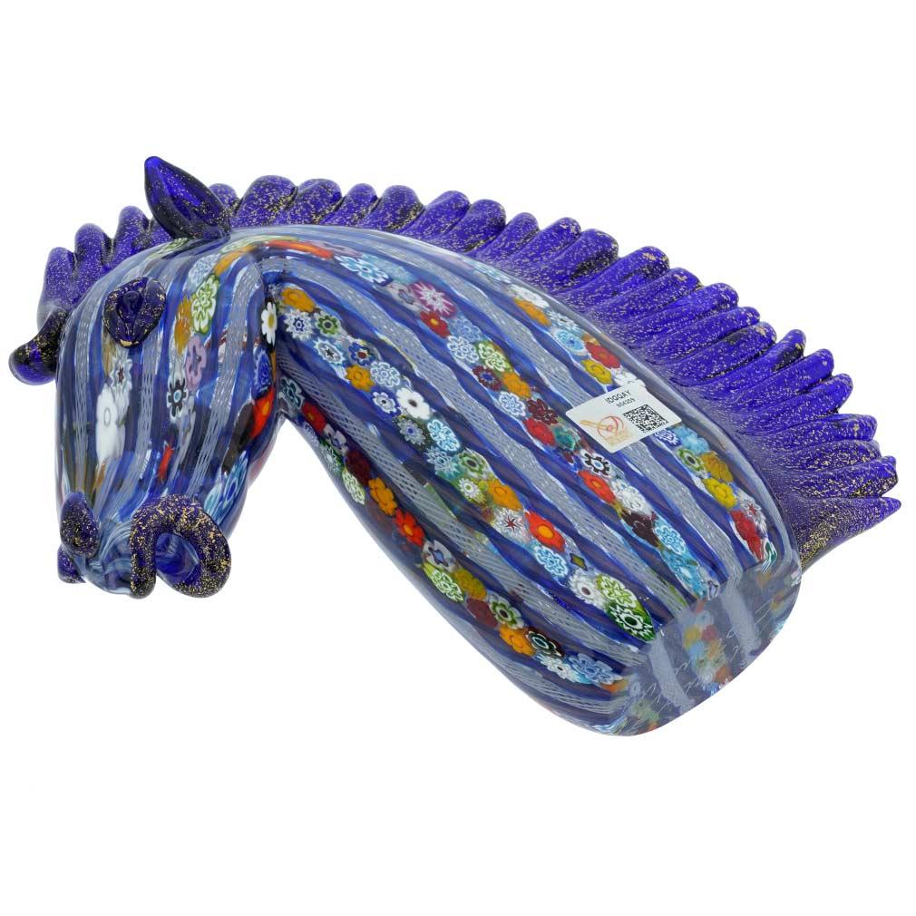 Murano Art Glass Large Millefiori Filigrana Horse Head