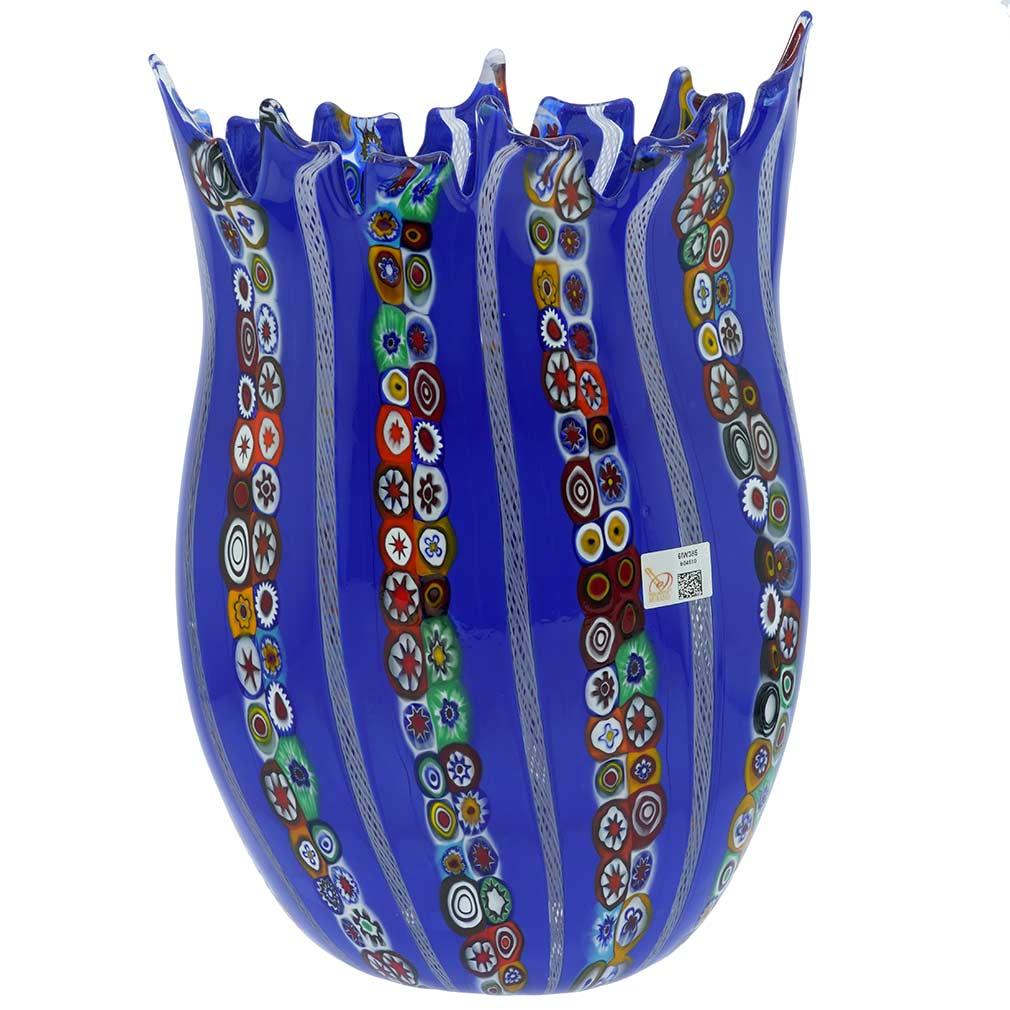 Blue Murano Glass Fazzoletto Millefiori Filigrana Vase - Large