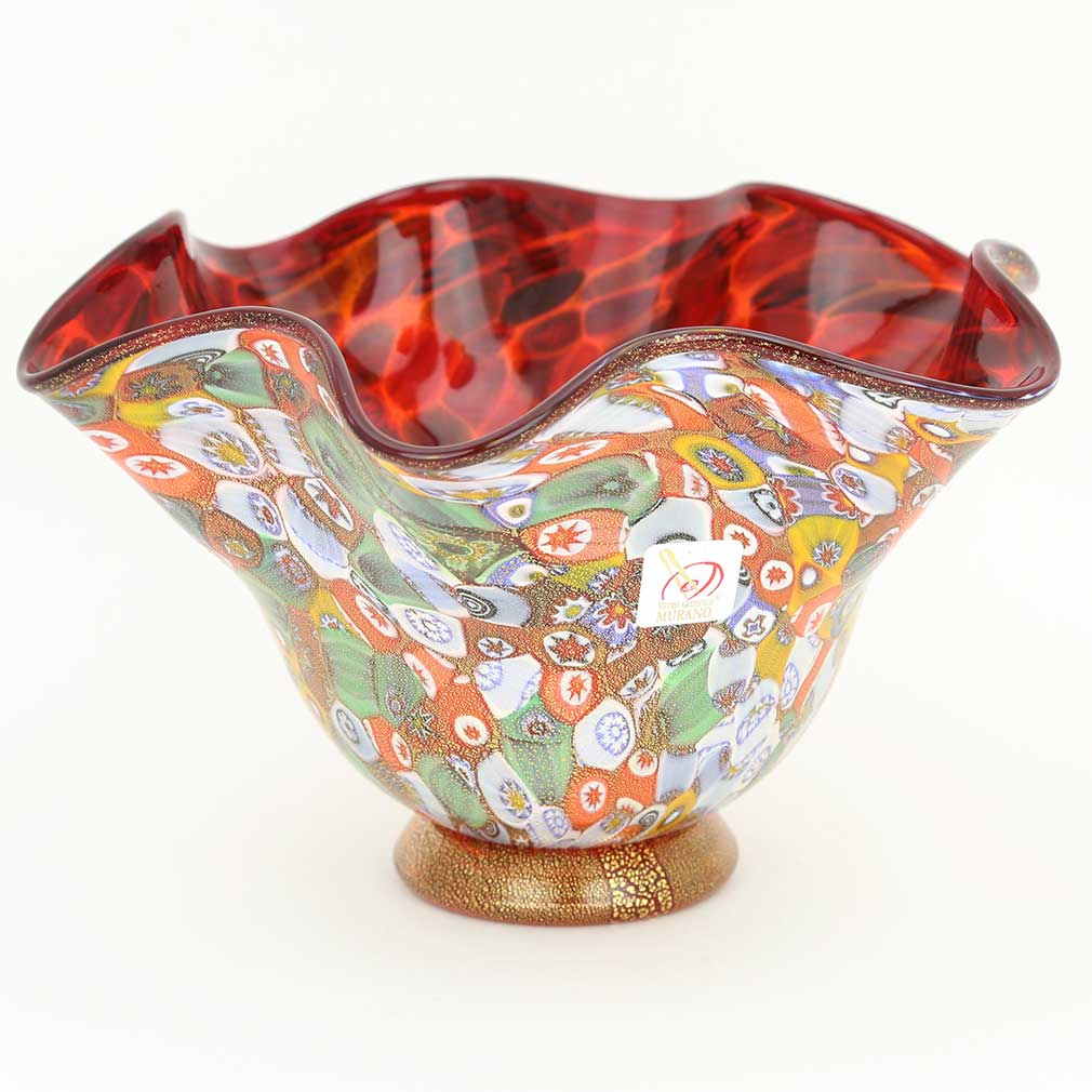 Murano Millefiori Gold Art Glass Fazzoletto Bowl